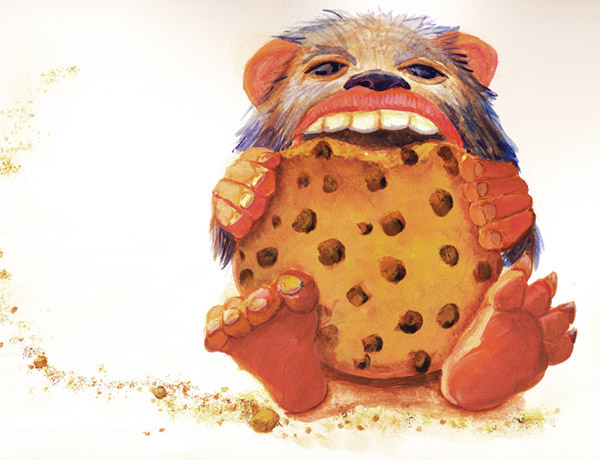 Creature eating chocolate chip cookie
