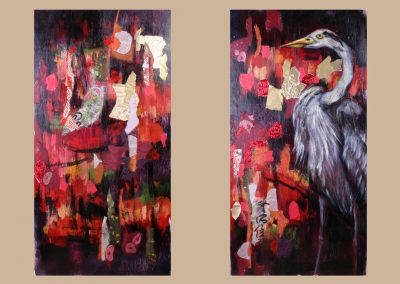 Diptych Panels of Crane